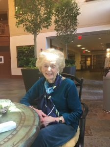 "Jacqueline ""Jacquie"" Horvath enjoying the Wintergarden at Fox Hill (Ilyse Veron)"