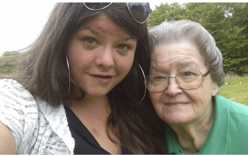 Rachel Hiles and her grandmother Barbara Hiles at a cemetery on Memorial Day in 2015, shortly before the fall that would change both their lives forever.