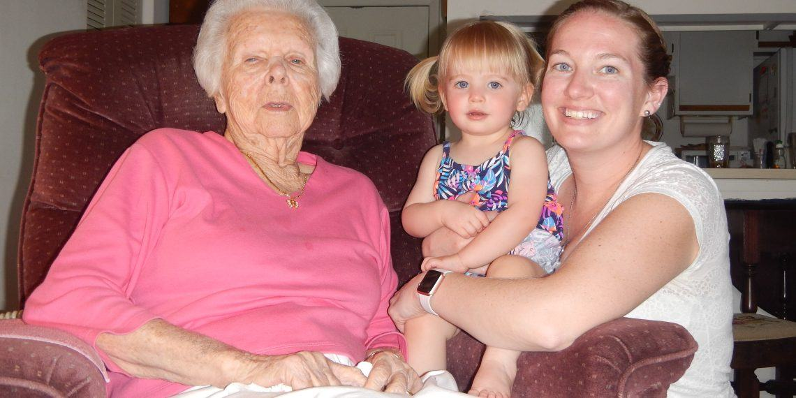 Imogene with her grand-niece Alison and great-grandniece Josephine.