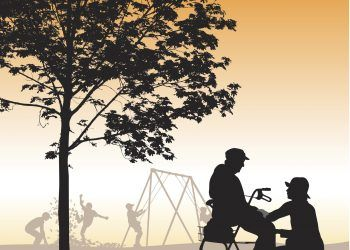A vector silhouette illustration of an elderly woman sitting on her walker with a young woman crouched beside her. They are in a park by a tree with young boys playing in a playground in the background.
